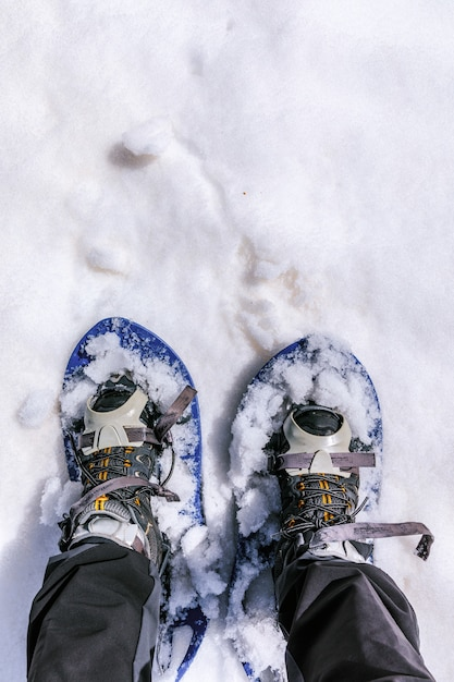 Walking with snowhoes Premium Photo