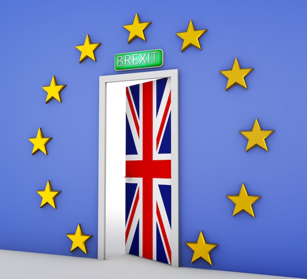 Wall in the form of a flag of the european union and a door with the flag of the great britain. 3d rendering. Premium Photo