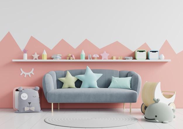 背景の白い壁の子供部屋の壁。 Premium写真