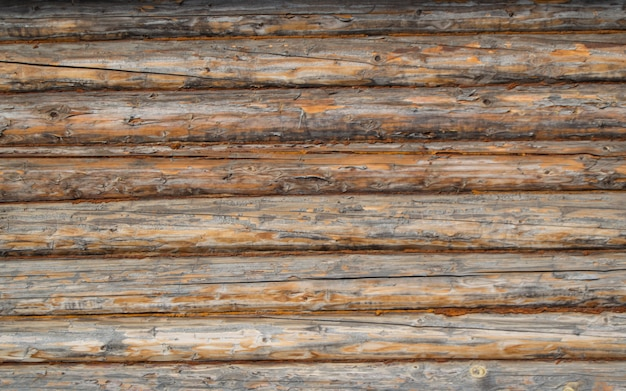 Wall of old logs, macro. background, texture Premium Photo
