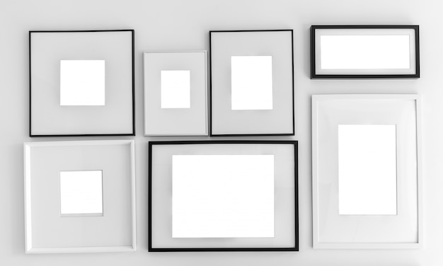 Wall With Different Types Of Frames Photo Free Download
