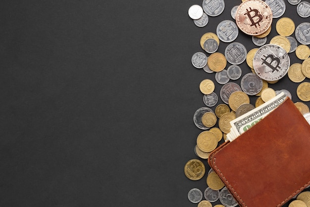 Wallet on top of coins with copy-space Free Photo
