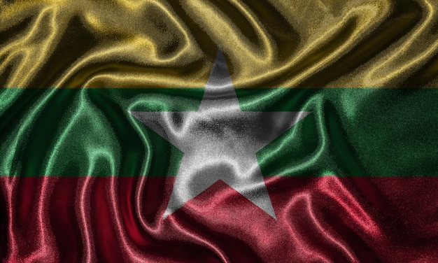 Wallpaper by myanmar flag and waving flag by fabric Premium Photo