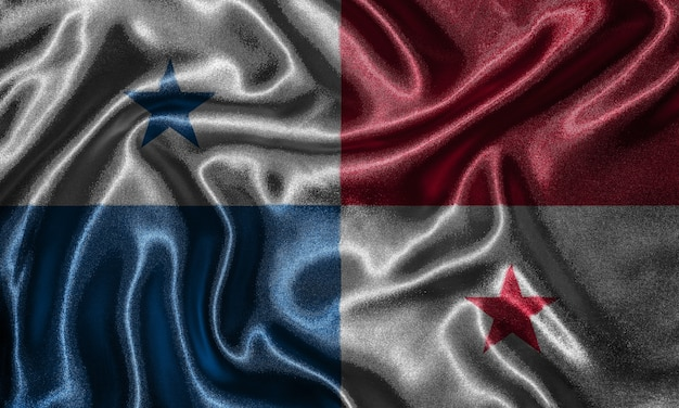 Wallpaper by panama flag and waving flag by fabric. Premium Photo