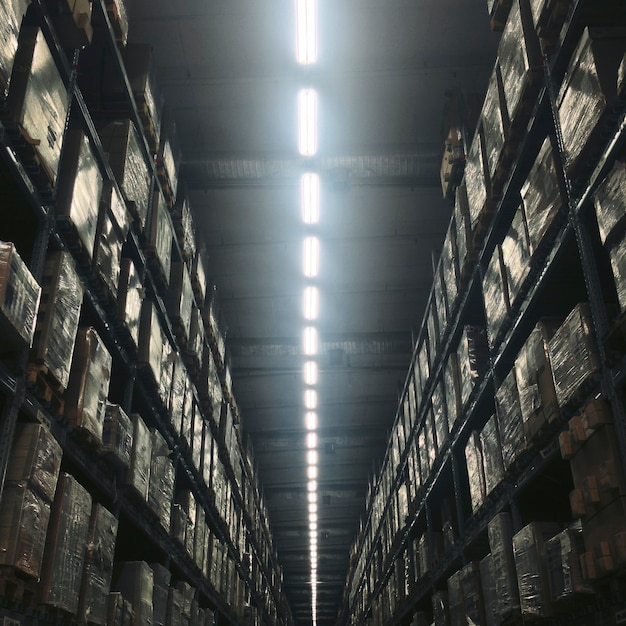 Warehouse building indoor light bulb concept Free Photo