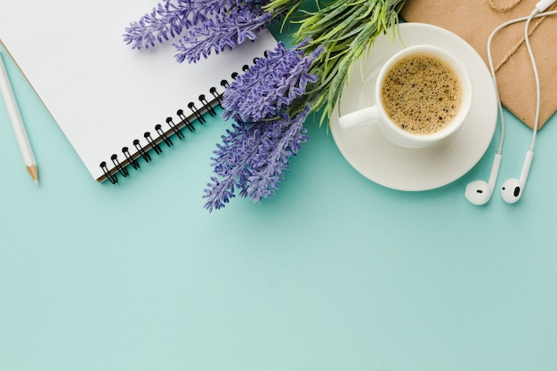 Warm morning coffee with lavender flowers top view Free Photo