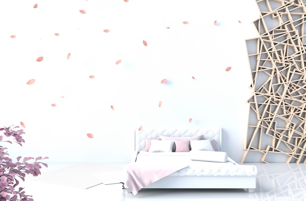Warm white bed room decor with white cement wall Premium Photo