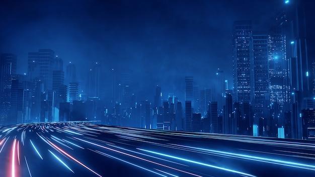 Гипер петля скорости варпа со светом от зданий в мегаполисе ночью. Premium Фотографии
