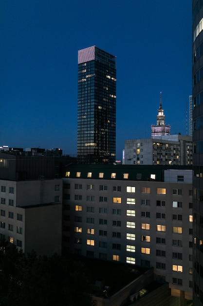 Warsaw downtown at night poland. night skycrappers Free Photo