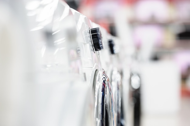 Washing mashines in appliance store Premium Photo