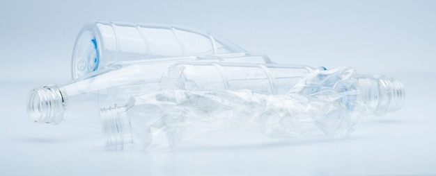 Waste of transparent plastic bottles isolated on white background with copy space Premium Photo