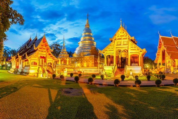Wat phra singh is located in the western part of the old city center of chiang mai,thailand Premium Photo