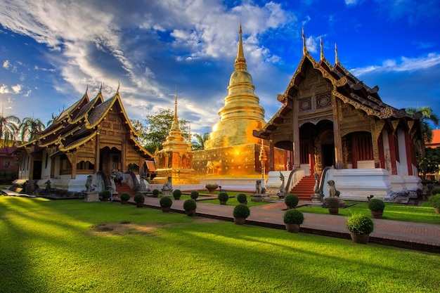 Wat phra singh is located in the western part of the old city center of chiang mai, thailand Premium Photo