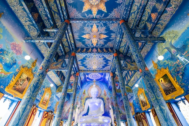 Wat rongseaten inside with blue painting and luxury architecture in chiangrai thailand Free Photo