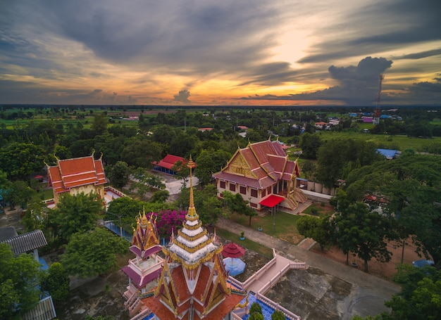 Wat thai, sunset in temple thailand,they are public domain or treasure of buddhism Premium Photo