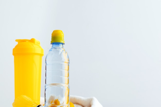 Water bottle and shaker bottle with protein. sport drinks Premium Photo