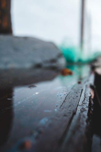 Goccioline di acqua su superficie di legno nera Foto Gratuite