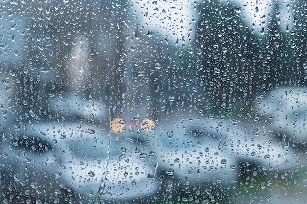 Water drops on glass Premium Photo