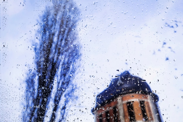 Water drops on urban background Free Photo