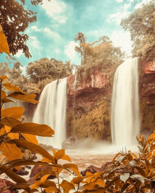 Water falls under blue sky in cataratas do iguacu - brazil Premium Photo