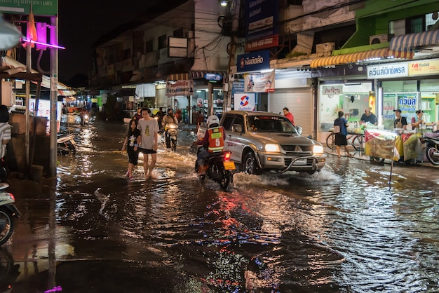 Water flood in city problem with drainage system Premium Photo