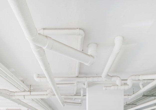 Water pipe system. installation of water pipe in the building. water pipe transport system. Premium Photo