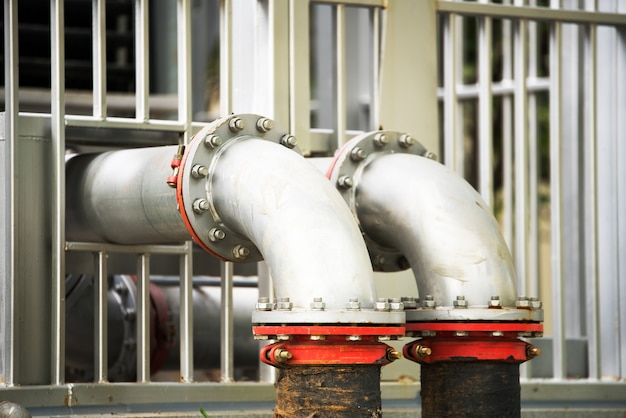 Water pipeline in water treatment plant Premium Photo