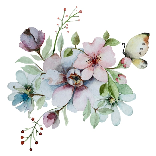 Watercolor abstract floral composition. bouquet of flowers isolated on a white background. Premium Photo