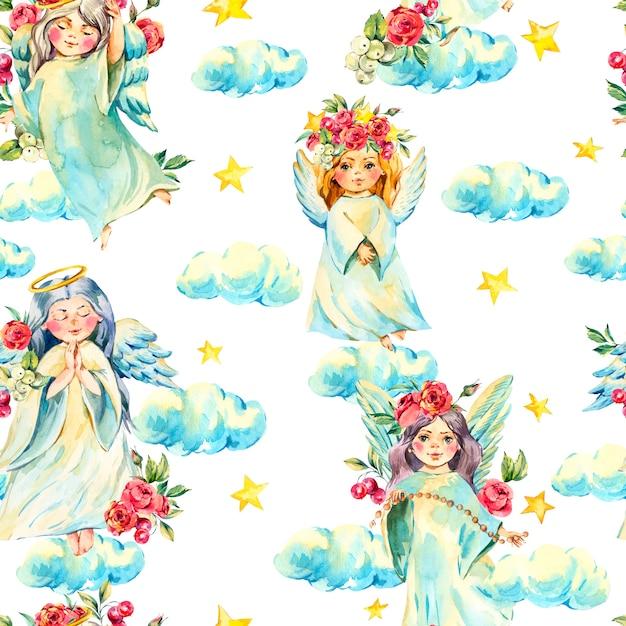 Коллекция акварельных ангелов Premium Фотографии