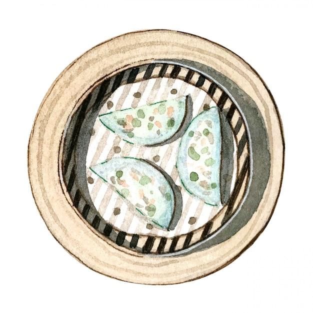 Watercolor asian food dim sum, prawn and chive dumplings, top view Premium Photo