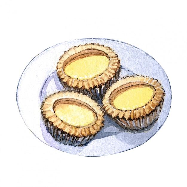 Watercolor asian food dim sum, sweet tart. Premium Photo
