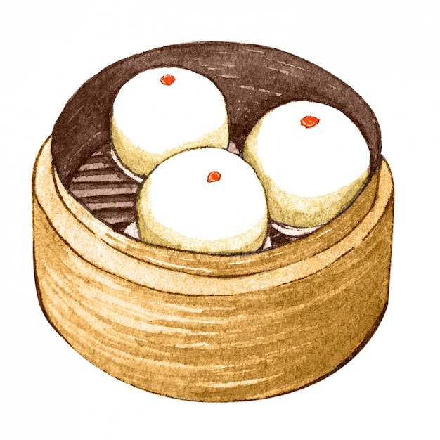 Watercolor asian food dim sum Premium Photo
