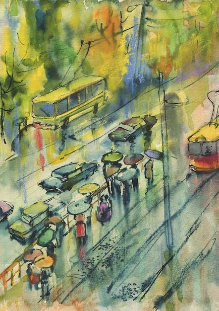 Premium Photo Watercolor Autumn Cityscape Painting Street People Rain Tram Hand Drawn Artistic Illustration