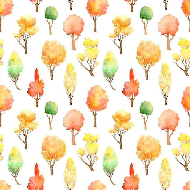 水彩の秋の森のシームレスなパターン。白地に紅葉。 Premium写真
