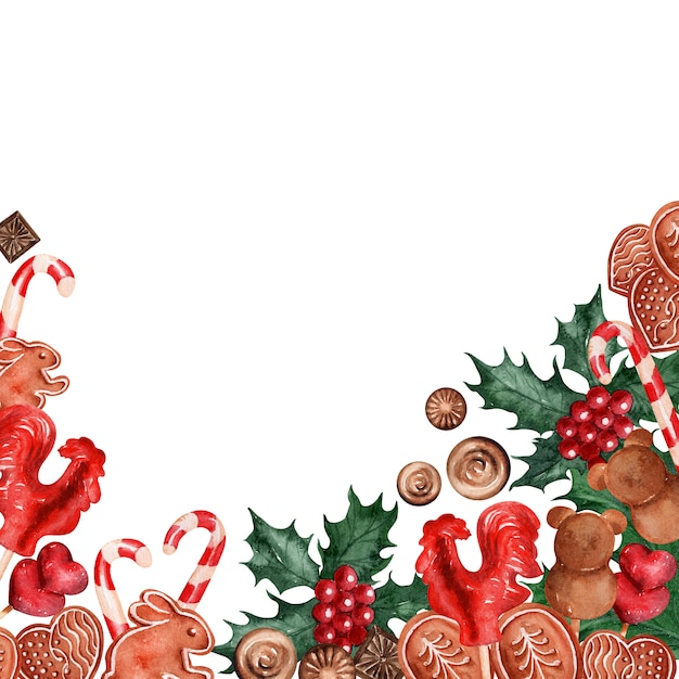 水彩背景画像クリスマスホリデーお菓子 Premium写真