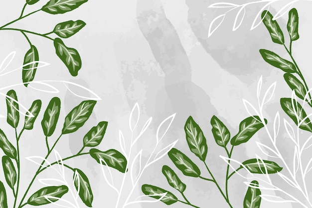 Watercolor background with detailed leaves Free Photo