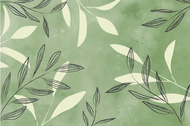 Watercolor background with leaves Free Photo