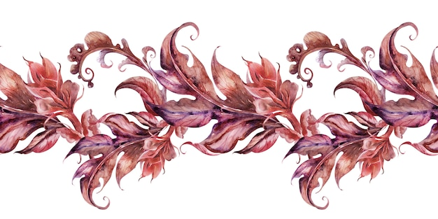 Watercolor background with stylized acanthus plant Premium Photo