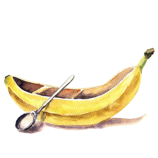 Watercolor banana-shaped kayak Premium Photo