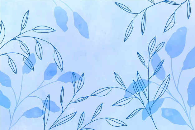 Watercolor blue background with blue leaves Free Photo