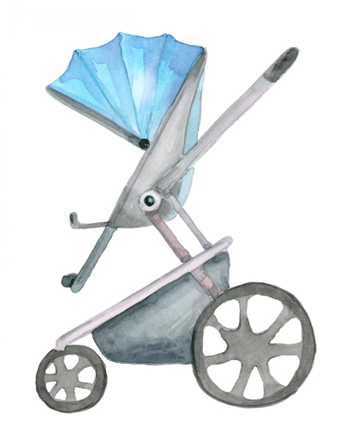 Watercolor blue pram Premium Photo