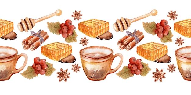 Watercolor border with autumn themed elements fragrant honey tea Premium Photo