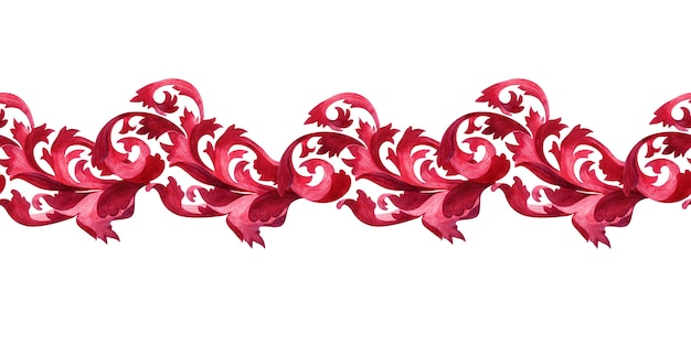 Watercolor border with stylized elements of the acanthus plant Premium Photo