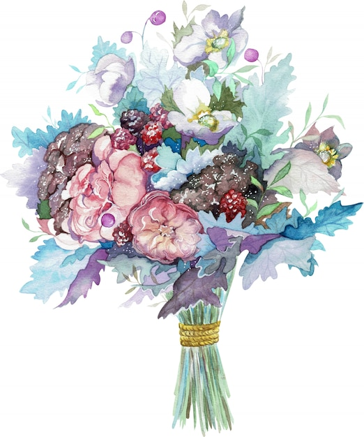 Watercolor bouquet of rose flowers with red berries and blue leaves. hand-drawn illustration. Premium Photo