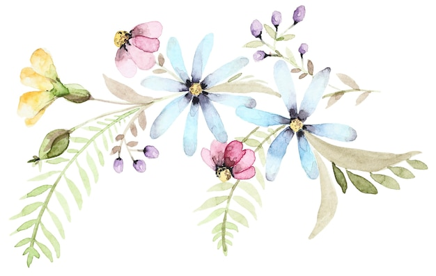 Watercolor bouquet of wildflowers. botanical spring composition. flower hand drawn set Premium Photo