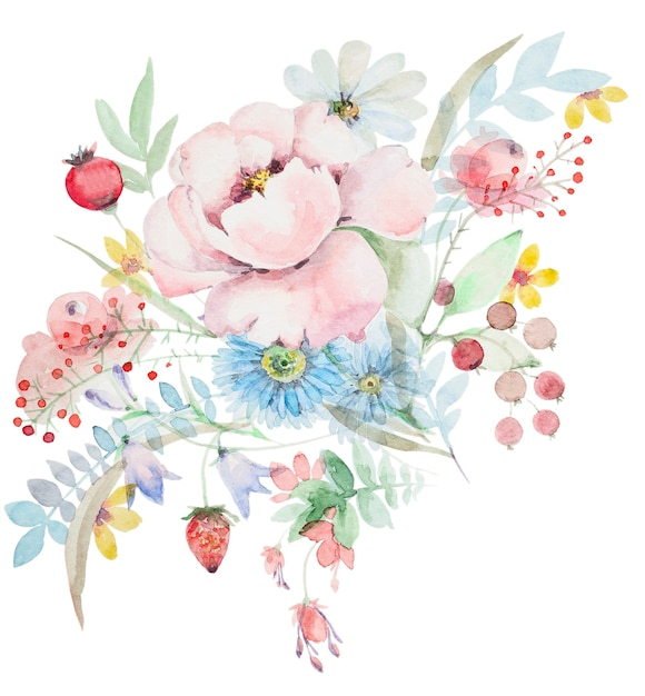 Watercolor bouquet of wildflowers. peonies with berries and other flowers. botanical spring composition Premium Photo