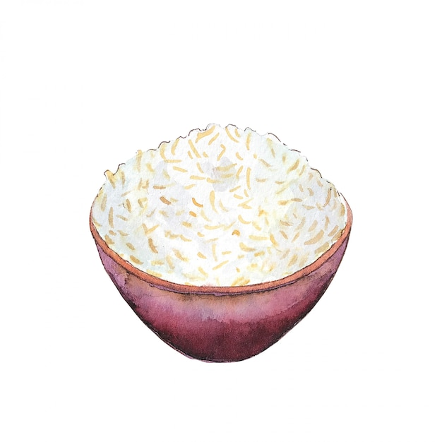 Watercolor bowl of rice isolated on white background. Premium Photo