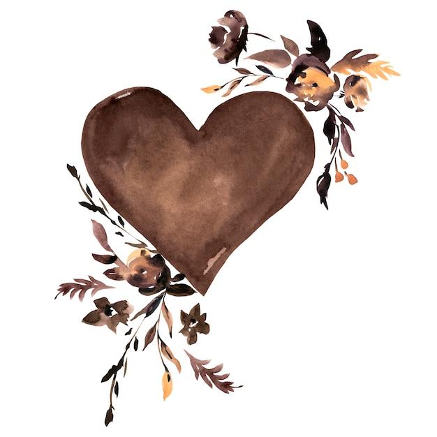 水彩のブラウンハートと黒い花 Premium写真