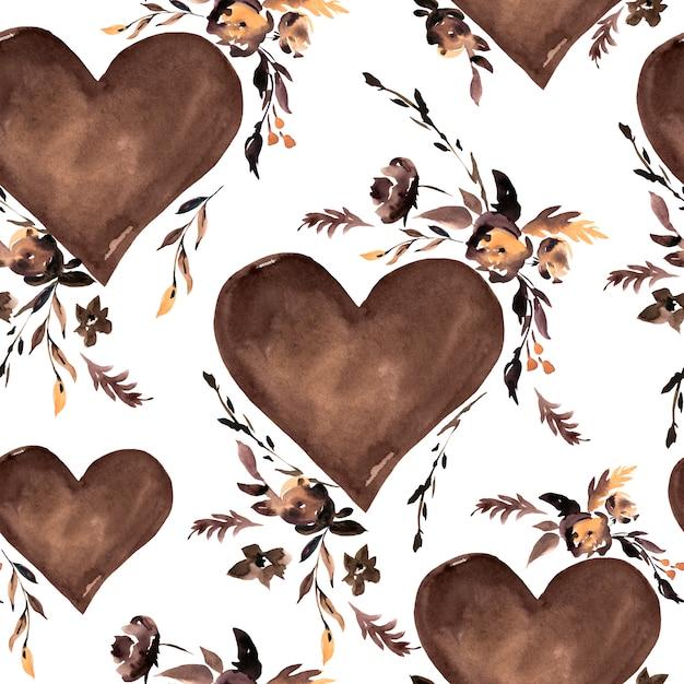 水彩の茶色の心と黒い花のシームレスパターン Premium写真