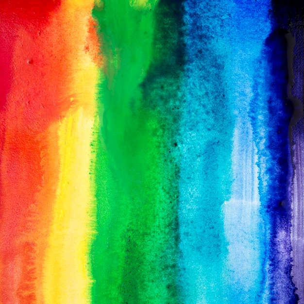 Watercolor brush strokes with rainbow colors Free Photo